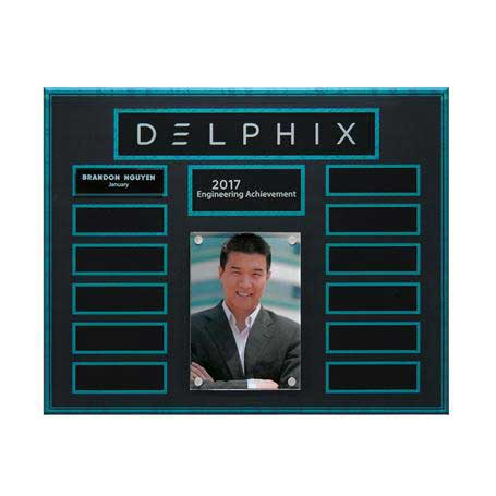 EP20 - Turquoise and Stone Background Lucite 13-Plt Photo Plaque  with Easy Perpetual Plate Release Program