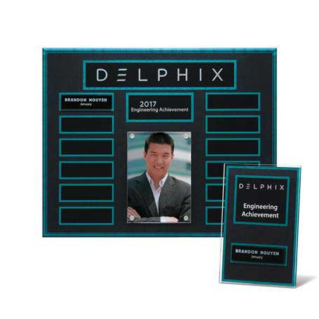 """EP20PKG - Turquoise and Stone Background Lucite 13-Plt Photo Plaque  with Easy Perpetual Plate Release Program and 12 Individual 4"""" x 6"""" Companion Plaques"""