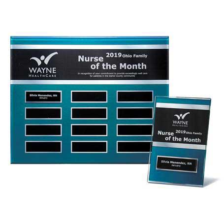 """EP22PKG - Blue Steel Background Beveled Lucite 12-Plt Plaque  with Easy Perpetual Plate Release Program and 12 Individual 4"""" x 6"""" Companion Plaques"""