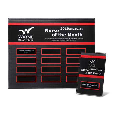 """EP23PKG - Crimson Border Beveled Lucite 12-Plt Plaque  with Easy Perpetual Plate Release Program and 12 Individual 4"""" x 6"""" Companion Plaques"""
