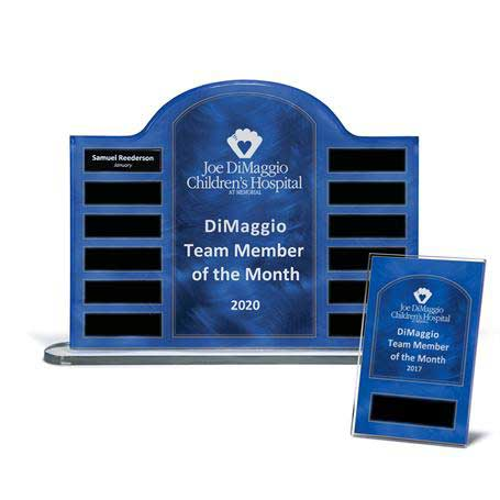 "EP25PKG - Blue Steel Contoured Lucite 12-Plt Award on Base with Easy Perpetual Plate Release Program and 12 Individual 4"" x 6"" Companion Plaques"