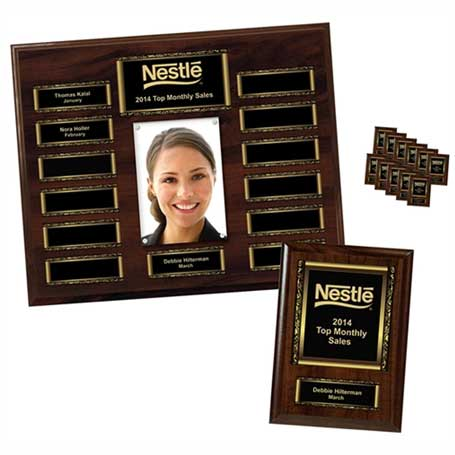 """EP2PK - Walnut Finish 13-Plt Scroll Border Photo Plaque  with Easy Perpetual Plate Release Program and 12 Individual 5"""" x 7"""" Companion Plaques"""