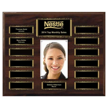 EP2 - Walnut Finish 13-Plt Scroll Border Photo Plaque  with Easy Perpetual Plate Release Program