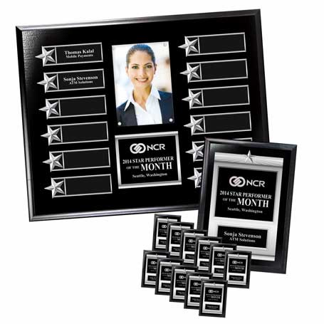 """EP4PK* - Gold on Walnut Finish or Silver on Ebony Finish  12-Plt Star Border Photo Plaque  with Easy Perpetual Plate Release Program and 12 Individual 5"""" x 7"""" Companion Plaques"""