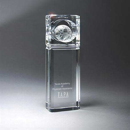 G0501 - Large Optic Crystal Globe Tower