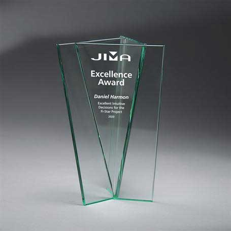 G0976 - Jade Glass Triangle Vase