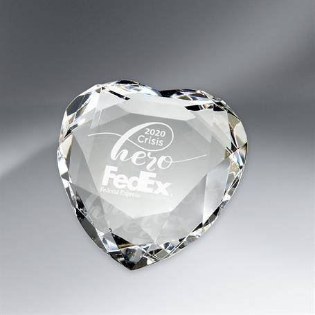 G0984 - Faceted Crystal Heart Paperweight