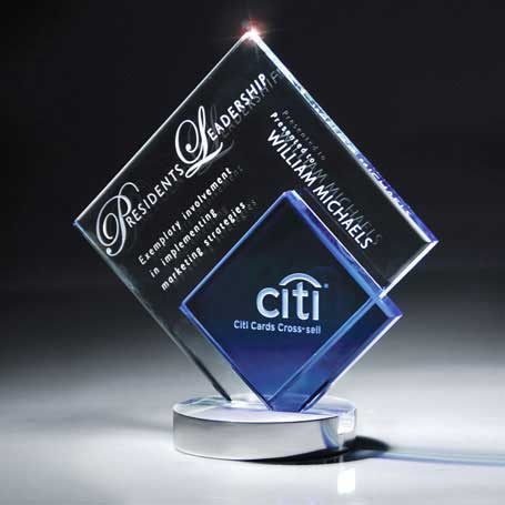 GI17 - Blue and Optic Crystal Diamond on Aluminum Base  (Includes Sandblast in 2 Locations and Silver Color-Fill on Blue Glass)