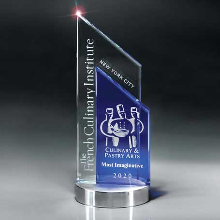 GI18 - Blue and Optic Crystal Peak on Aluminum Base  (Includes Sandblast in 2 Locations and Silver Color-Fill on Blue Glass)
