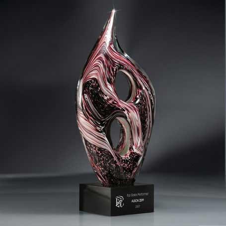 GI205 - Maroon Sculpted Glass on Black Glass Base