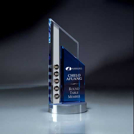 GI322 - Blue and Optic Crystal Peak on Aluminum Base  (Includes Silver Color-Fill - Date Tabs Sold Separately)