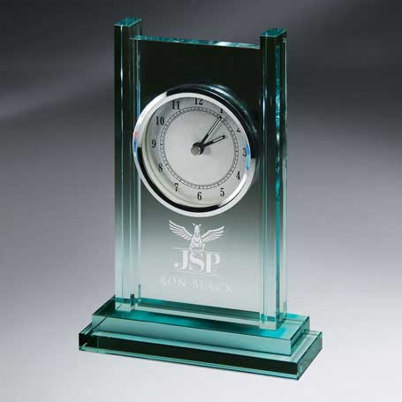 GI526 - Jade Glass Column Clock