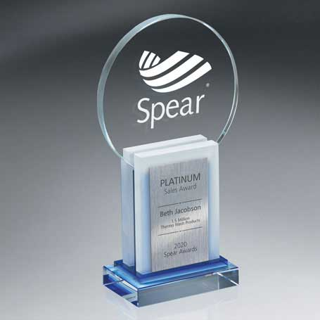 GI572 - Crystal Dimensional Award with Sandblast Imprintand Silver Lasered Plate