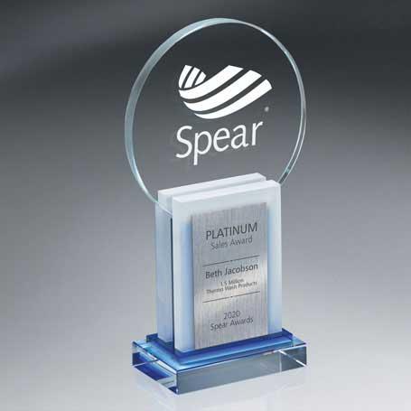 GI572 - Crystal Dimensional Award with Sandblast Imprint and Silver Lasered Plate