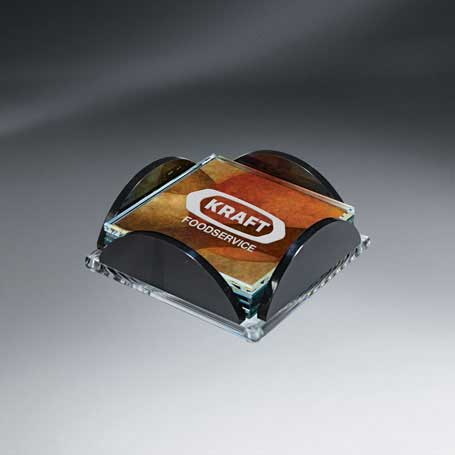 GI578 - Set of 4 Art Glass Lasered Coasters in Holder