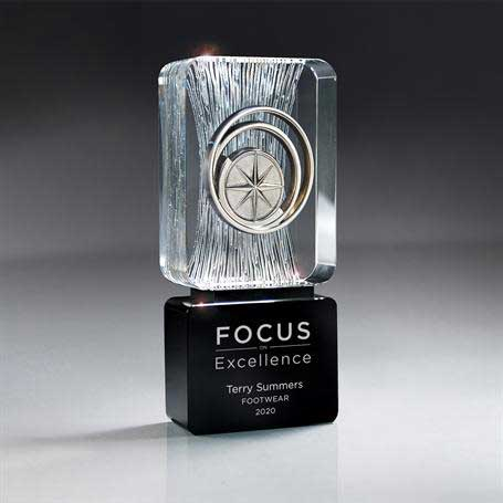 GI583M* - Carved Clear Crystal on Black Base with Choice of Medallion (Includes Silver Color-Fill on Black)