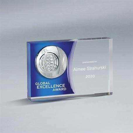 GI584AM* - Crystal Tablet with Choice of Medallion