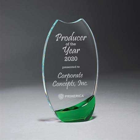GI595GR - Clear Glass with Bold Green Crystal Accent