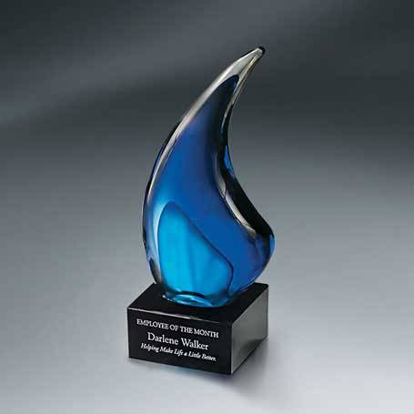 GI618A - Indigo Art Glass on Black Glass Base - Small with Black Lasered Plate