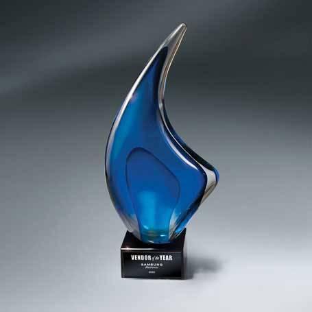 GI618B - Indigo Art Glass on Black Glass Base - Large with Black Lasered Plate