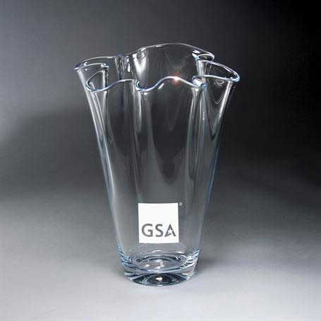 GI636C - Towering Clear Fluted Glass Vase
