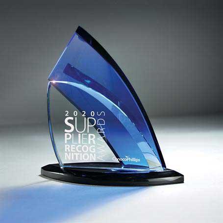 GI644 - Clear and Blue Glass on Black base
