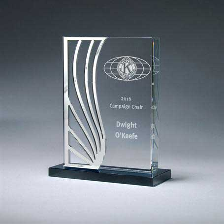 GI651 - Crystal with Reflective Mirror Accent on Glass Base