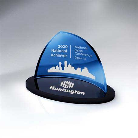 GI654A - Blue Crescent Glass on Black Oval Glass Base - Small (Includes Color-Fill in Both Areas)