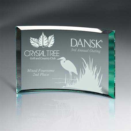 GM456B - Beveled Jade Glass Crescent Plaque