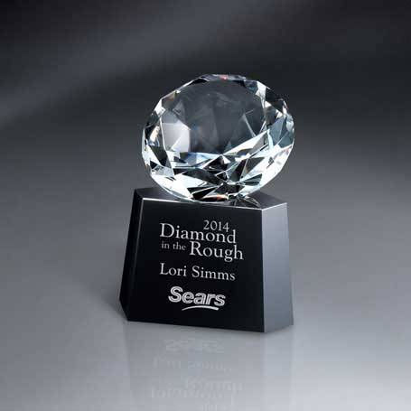 GM466 - Optic Crystal Diamond on Black Glass Base (Includes Silver Color-Fill on Base)