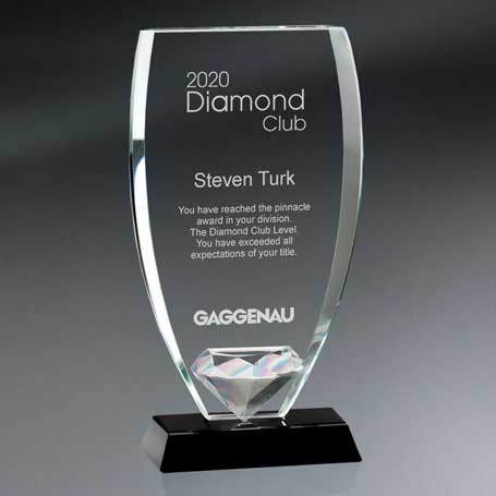 GM617B - Reflective Glass Shield with Diamond  on Black Glass Base - Medium