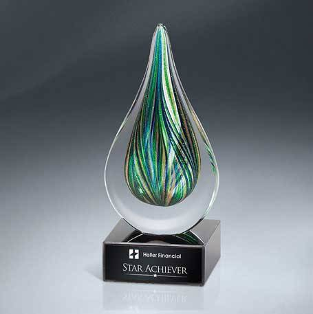 GM638 - Green and Gold Art Glass Drop on Black Glass Base(Includes Black Lasered Plate)