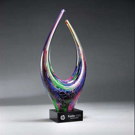 GM660 - Bold Artistic Glass on Black Glass Base  with Black Lasered Plate