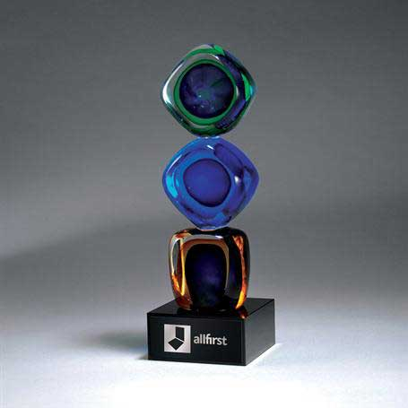 GM661 - Distinctive Art Glass Cubes with Black Lasered Plate