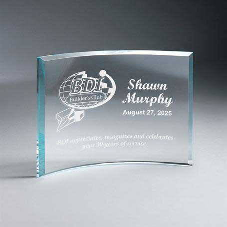 GM664B - Beveled Clear Glass Crescent Plaque