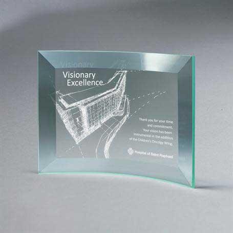 GM665A - Beveled Jade Glass Crescent Plaque