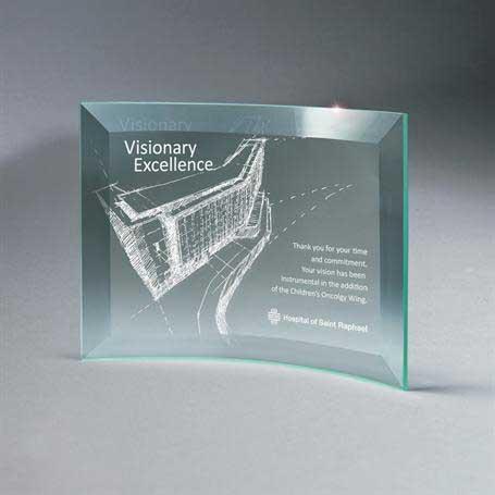 GM665B - Beveled Jade Glass Crescent Plaque
