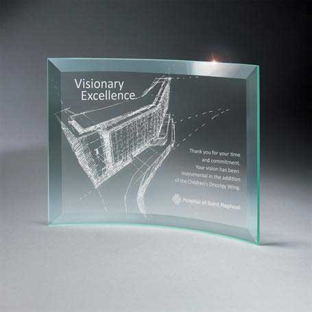 GM665D - Beveled Jade Glass Crescent Plaque