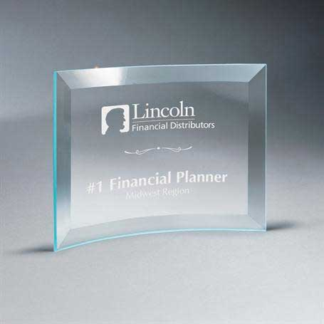 GM667B - Beveled Clear Glass Crescent Plaque