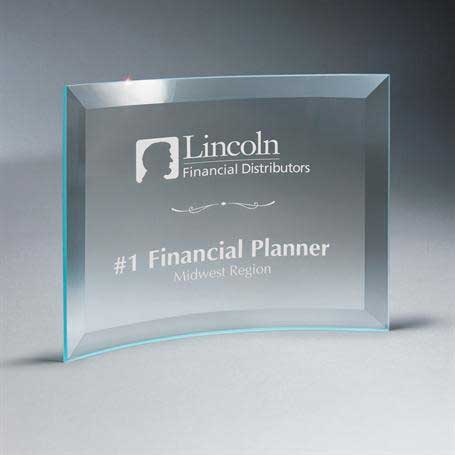 GM667C - Beveled Clear Glass Crescent Plaque