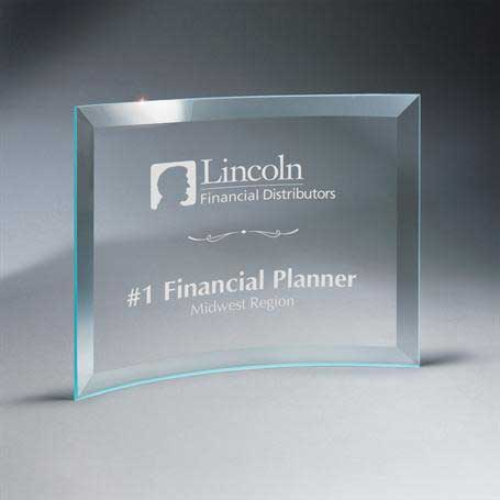 GM667D - Beveled Clear Glass Crescent Plaque