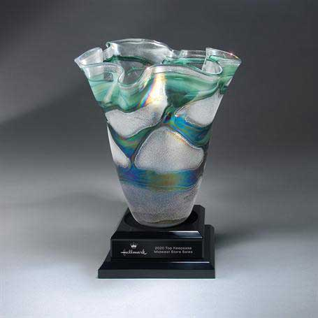 GM700 - Stunning Vase Resting on Black Ebony Base  (Unattached) with Black Lasered Plate