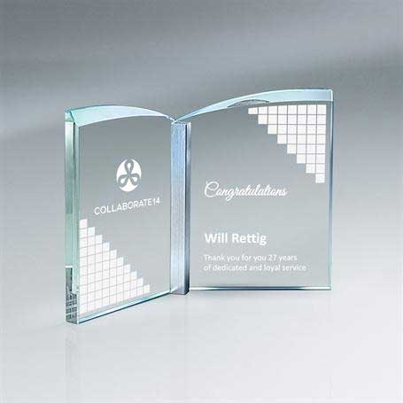 GM701A - Clear Crystal Book with Aluminum - Small