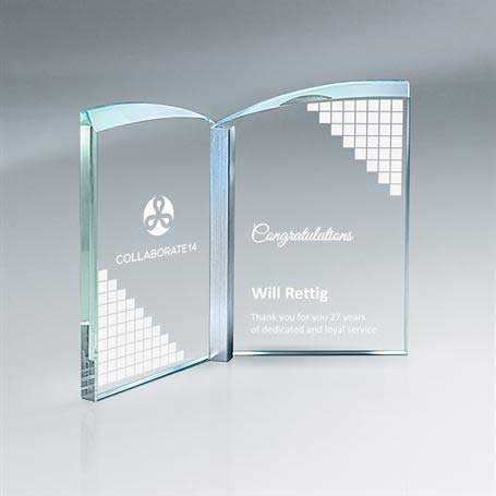 GM701B - Clear Crystal Book with Aluminum - Large