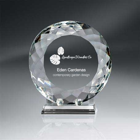 GM730B - Round Crystal Plate with Crystal Stand