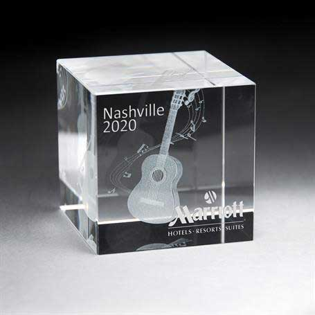 GNS137 - 3D Etched Crystal Cube - Large