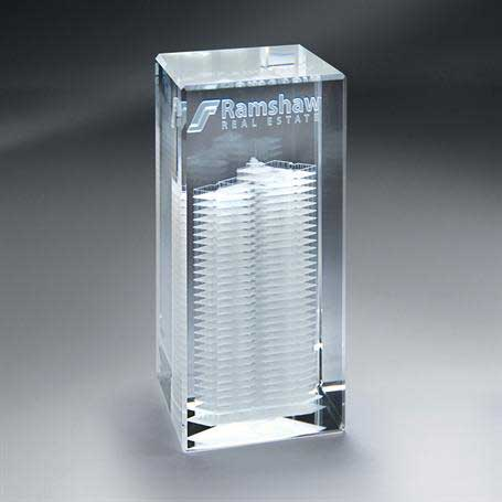 GNS152 - 3D Etched Crystal Tower - Small