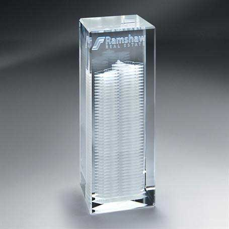 GNS153 - 3D Etched Crystal Tower - Medium