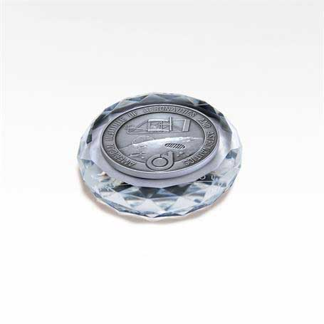 MGM447 - Faceted Optic Crystal Round Paperweight with Medallion