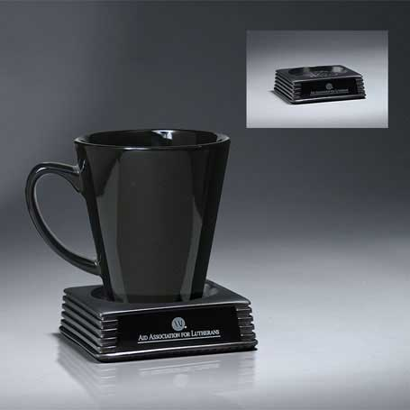 RP100 - Silver Cast Resin Executive Coaster  with Black Lasered Plate (Mug Not Included)
